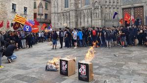Joves d'Arran cremen fotos del rei davant la catedral de Barcelona