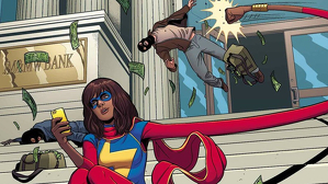 Khan (Ms. Marvel) combatiendo el crimen al o millenial