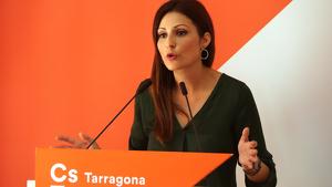 La líder de Cs a Catalunya, Lorena Roldán, en roda de premsa des de Tarragona
