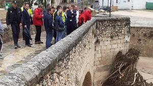 La visita del president Puig per a comprovar l'estat dels desperfectes en Ontinyent