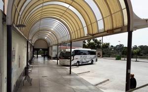L'estació d'autobusos es va veure molt afectada durant l'esclafit que es va produir el 18 d'octubre de 2017