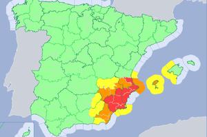 Mapa de alertas meteorológicas para este jueves