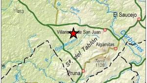 Mapa del epicentro del terremoto de la pasada noche en Villanueva de San Juan