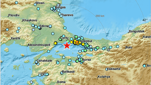 Mapa del terratrèmol de 5,8 que ha tingut lloc aquest migdia a Istanbul