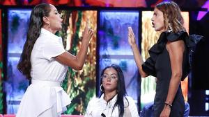 Mónica e Isabel durante la discusión no emitida