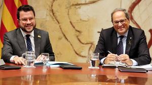 Quim Torra i Pere Aragonès, a la taula del Consell Executiu