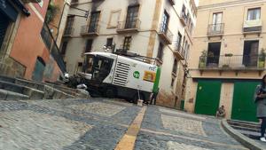 Una imatge de la màquina accidentada a la Baixada de la Misericòrdia.