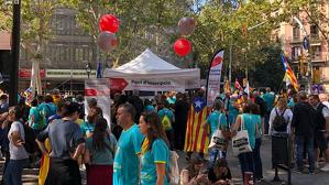 Voluntaris del Consell per la República demanant inscripcions durant la Diada