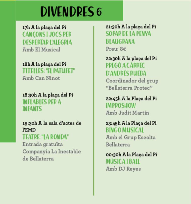 Programa del dijous 5 i 6 de la Festa Major de Bellaterra del 2019