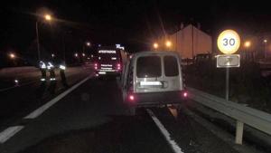 Accidente entre un vehículo y un autobús en Beriáin, Pamplona