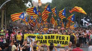 Capçalera de la manifestació a la ciutat de Barcelona