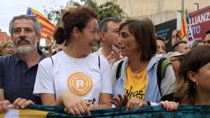 Carola Miró durant la 'Marxa per la Llibertat' a Badalona