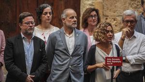 Castellà, Ruiz i Batet, en primera línia, durant l'acte socialista celebrat a Tarragona
