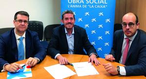 D'esquerra a dreta: Albert Biosca (La Caixa), Enric Herrera, director executiu de Fundació Aspros i Geremí Camí Calzada (La Caixa)