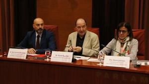 El director de Catalunya Ràdio, Saül Gordillo, el de TV3, Vicent Sanchis, i la presidenta en funcions de la CCMA, Núria LLorach