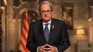 El president de la Generalitat, Quim Torra, durant el discurs amb motiu de la Diada