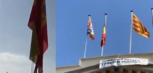 Els independentistes han baixat la bandera espanyola de la façana