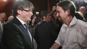 Imagen de Pablo Iglesias y Puigdemont