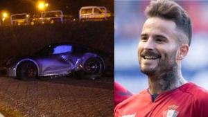 Imagen de Rubén García y del coche tras el accidente
