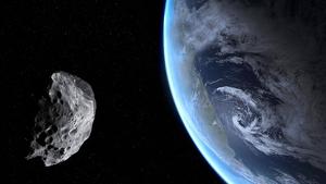 Imagen representativa de un asteroide acercándose a la Tierra
