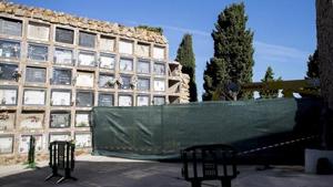 Imatge d'arxiu de la zona on es van esfondrar al voltant de 140 nínxols del cementiri de Montjuïc