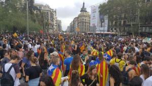 Imatge de la manifestació unitària de la Plaça Universitat