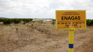 Imatge de la placa de la fita del gasoducte de connexió de projecte Castor, a Vinaròs
