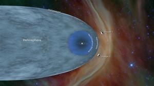 Imatge de la zona llunyana de l'espai on es troben les dues naus Voyager