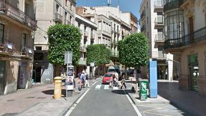 Imatge del pas de vianants entre el carrer del Vent i el carrer de Jesús.