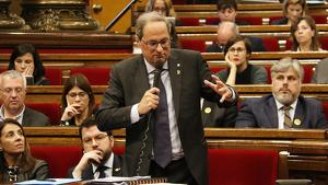Imatge del president del govern català, Quim Torra, durant la sessió de control d'aquest dimecres, 23 d'octubre.
