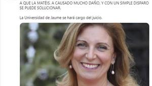 Imàtgens de les amenaces de mort que ha rebut l'alcaldessa de Castelló per part del compte piratejat de la UJI