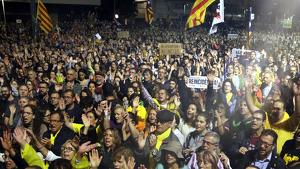 Manifestants en la mobilització de Girona