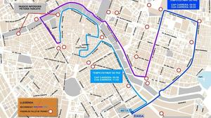 Mapa amb el recorregut de la Mitja Marató i els carrers tallats