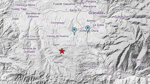 Mapa del epicentro del terremoto sucedido esta mañana de viernes en el centro de la provincia de Granada
