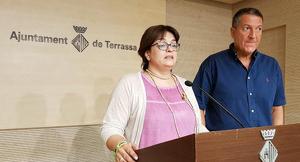 Meritxell Lluís i Miquel Sàmper, a la sala de premsa de l'Ajuntament de Terrassa