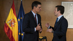 Pablo Casado amb Pedro Sánchez