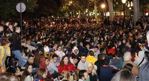 Pla general dels concentrats a l'alçada de la subdelegació del govern espanyol a Lleida