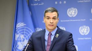 Sánchez en la seva roda de premsa a la Conferència del Clima de l'ONU