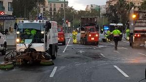 Serveis de neteja després dels aldarulls a Barcelona