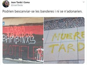 Tardà compara una amenaça de mort dels ultres amb les pintades de «botifler» de l'independentisme
