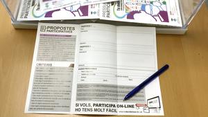 Una de les butlletes per a fer propostes als pressupostos participatius de Roda de Berà.