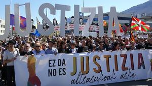 Una de les manifestacions de familiars dels 8 condemnats demanant justícia