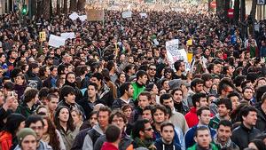 Vaga d'estudiants l'any 2015 que va portar al Govern a modificar la llei de beques universitàries.