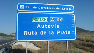 Cartel informativo de la A-66, la ruta de la Plata