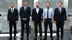 D'esquerra a dreta, Pablo Casado (PP); Pedro Sánchez (PSOE); Santiago Abascal (VOX); Pablo Iglesias (PODEMOS); i Albert Rivera (CIUTADANS)