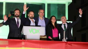 Els líders de VOX celebren els resultats a les generals del 10-N a la seu del partit a Madrid.
