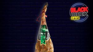 Imagen promocional de un jamón con un fondo negro