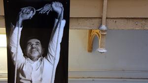 imatge de l'exposició 'Danys col·laterals' a la presó Model en la qual apareix l'expresident d'Assemblea Nacional Catalana Jordi Sànchez. 29 de novembre de 2019.
