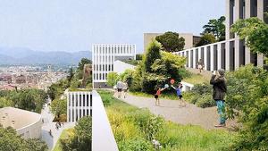 Imatge simulada de la panoràmica vertical del projecte dissenyat per al nou aparcament de l'Hospital Verge de la Cinta de Tortosa