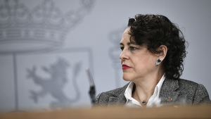 La ministra de Trabajo en funciones, Magdalena Valerio, tras el primer Consejo de Ministros el 15 de noviembre de 2019